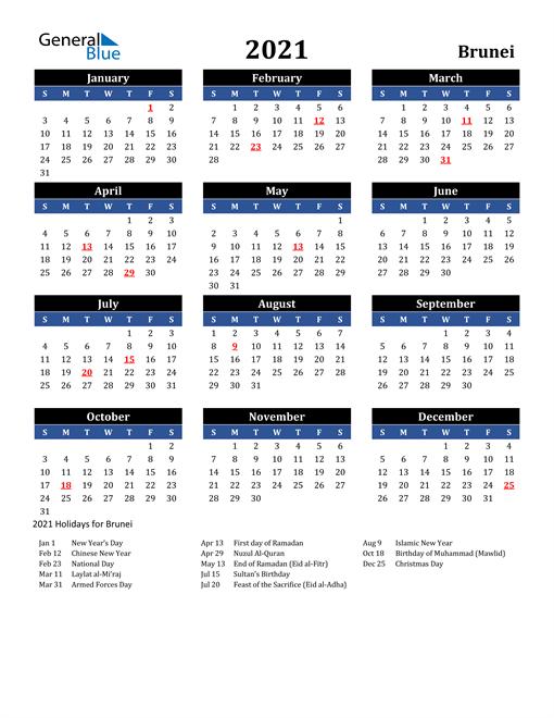 2021 Brunei Free Calendar