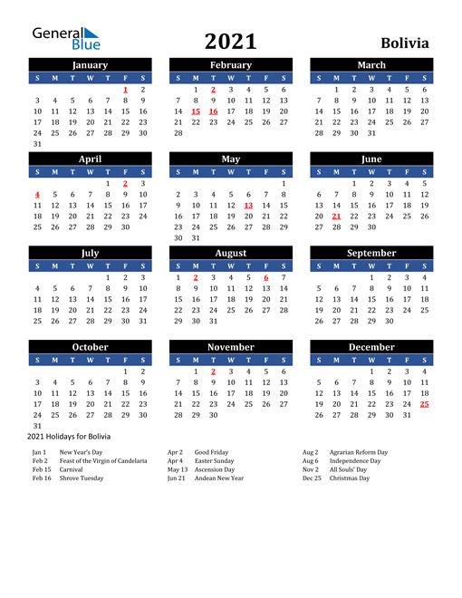 2021 Bolivia Free Calendar