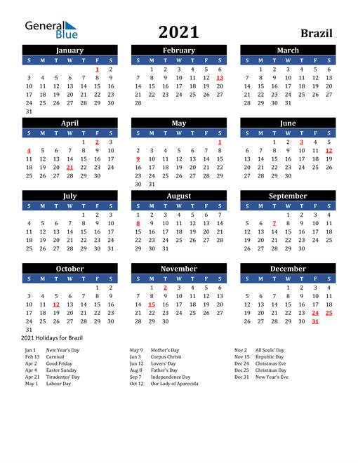 2021 Brazil Free Calendar
