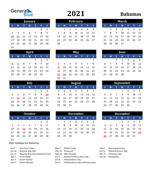 Image of Bahamas 2021 Calendar in Blue and Black with Holidays