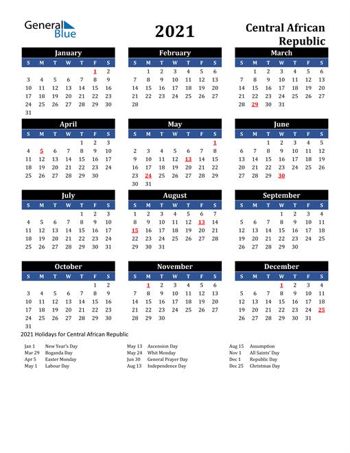2021 Central African Republic Free Calendar
