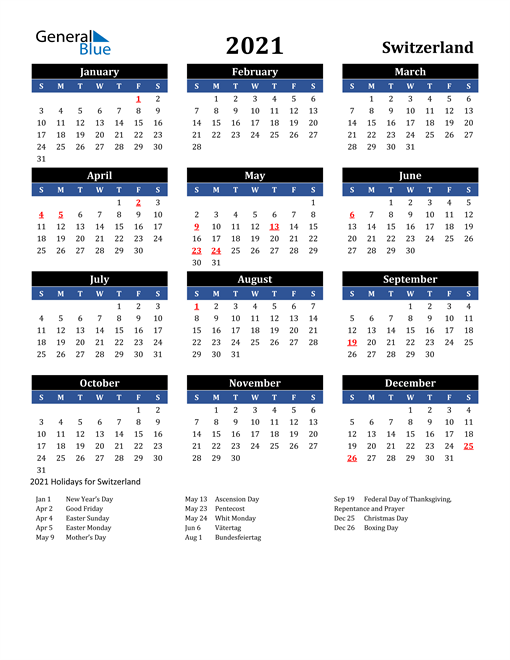 Image of Switzerland 2021 Calendar in Blue and Black with Holidays
