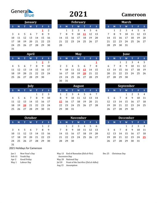 2021 Cameroon Free Calendar