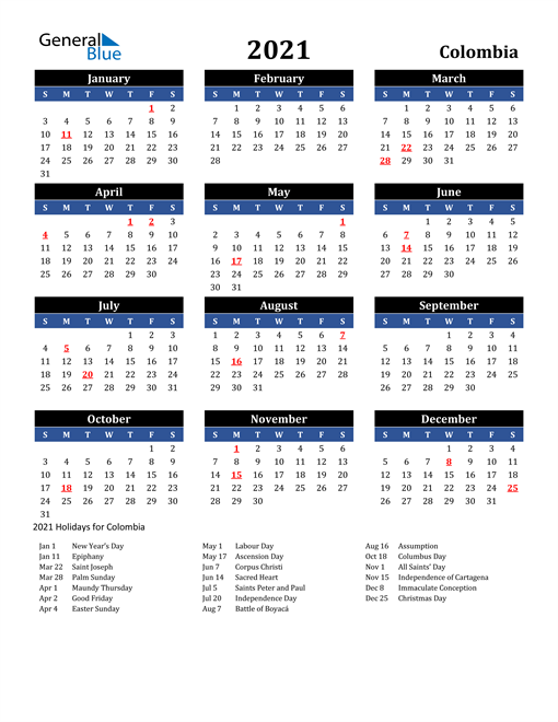 Image of Colombia 2021 Calendar in Blue and Black with Holidays