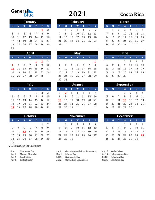 Image of Costa Rica 2021 Calendar in Blue and Black with Holidays
