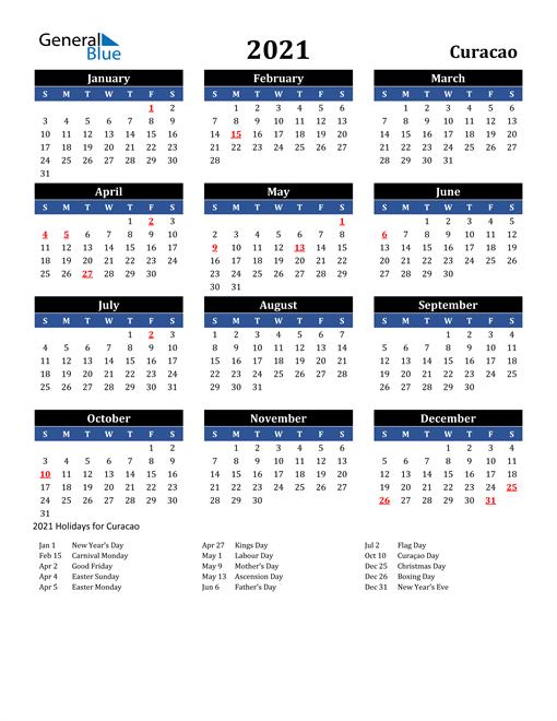 2021 Curacao Free Calendar