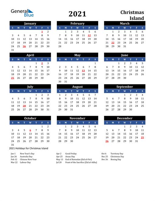 2021 Christmas Island Free Calendar