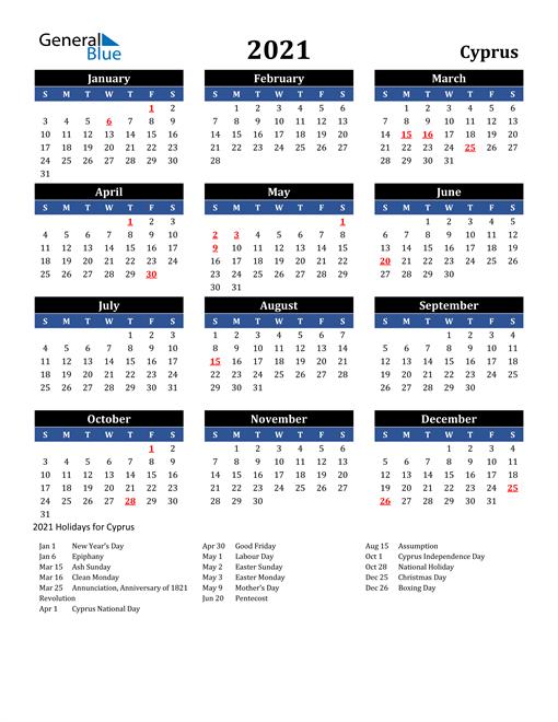 2021 Cyprus Free Calendar