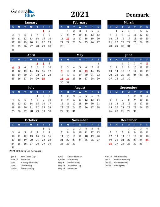 2021 Denmark Free Calendar