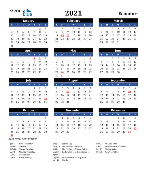 2021 Ecuador Free Calendar