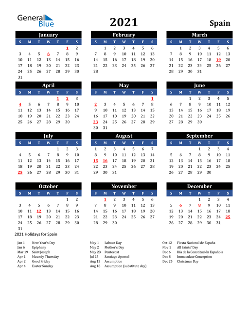 Image of Spain 2021 Calendar in Blue and Black with Holidays