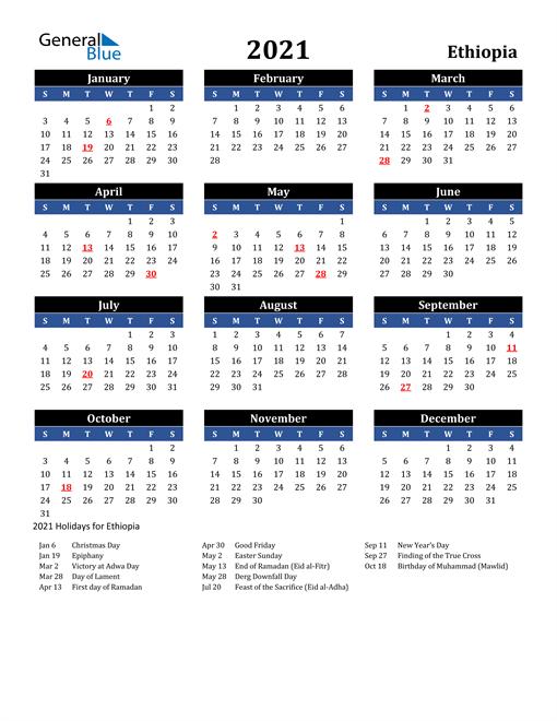 2021 Ethiopia Free Calendar