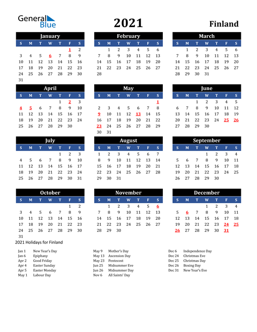 Image of Finland 2021 Calendar in Blue and Black with Holidays