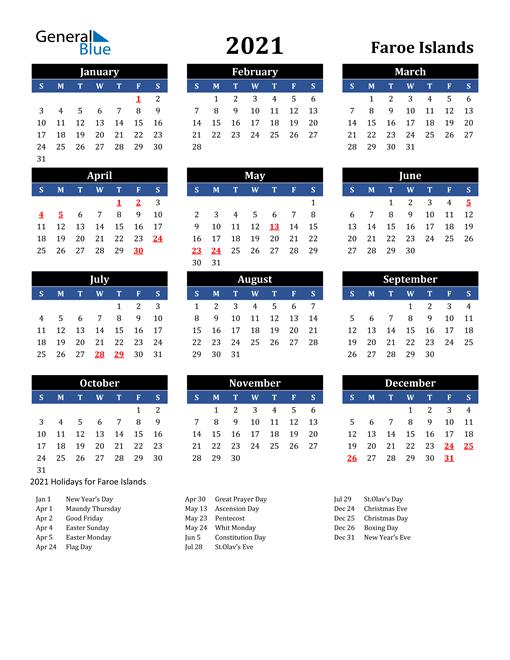 2021 Faroe Islands Free Calendar