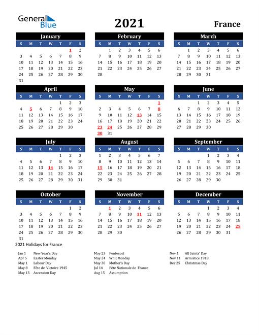 2021 calendar black blue with holidays portrait en fr