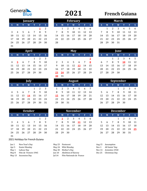 Image of French Guiana 2021 Calendar in Blue and Black with Holidays