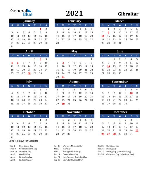 2021 Gibraltar Free Calendar