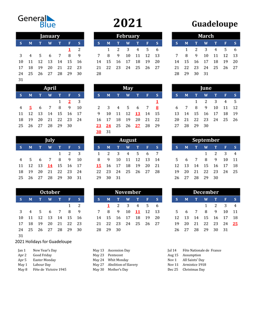 2021 Guadeloupe Free Calendar