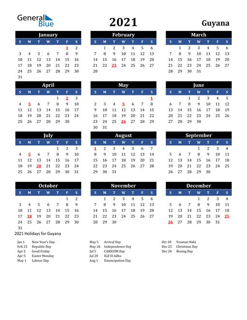 2021 Guyana Free Calendar