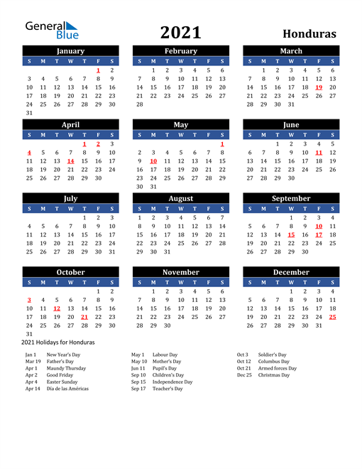 Image of Honduras 2021 Calendar in Blue and Black with Holidays