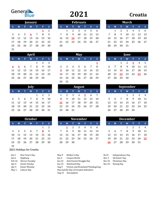 Image of Croatia 2021 Calendar in Blue and Black with Holidays