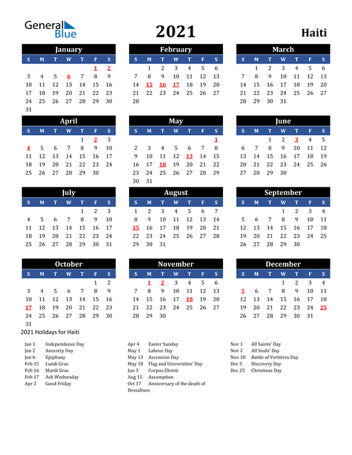 2021 Haiti Free Calendar