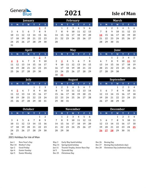 2021 Isle of Man Free Calendar
