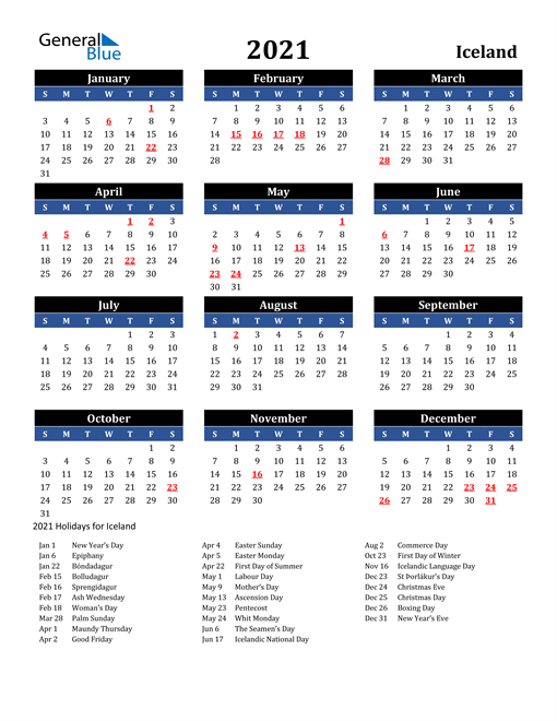 Image of Iceland 2021 Calendar in Blue and Black with Holidays