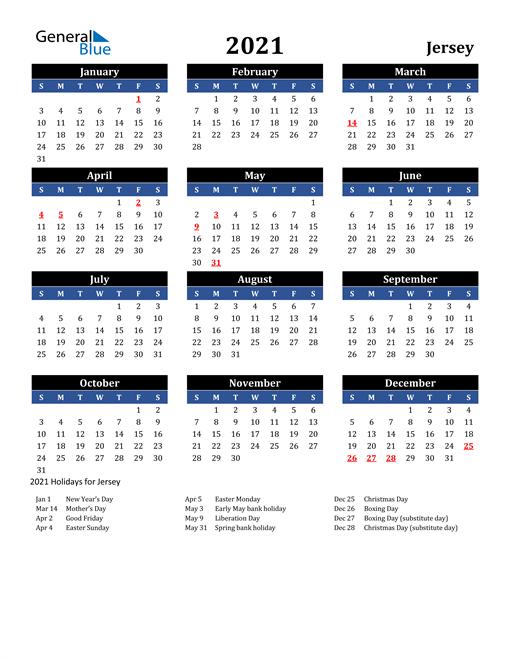 2021 Jersey Free Calendar
