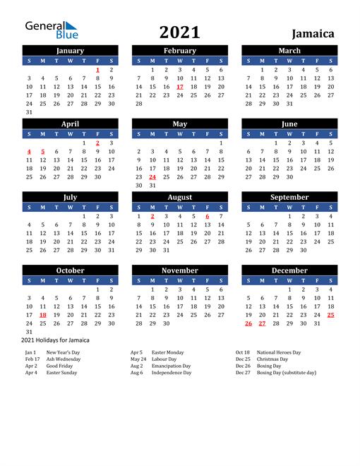 2021 Jamaica Free Calendar