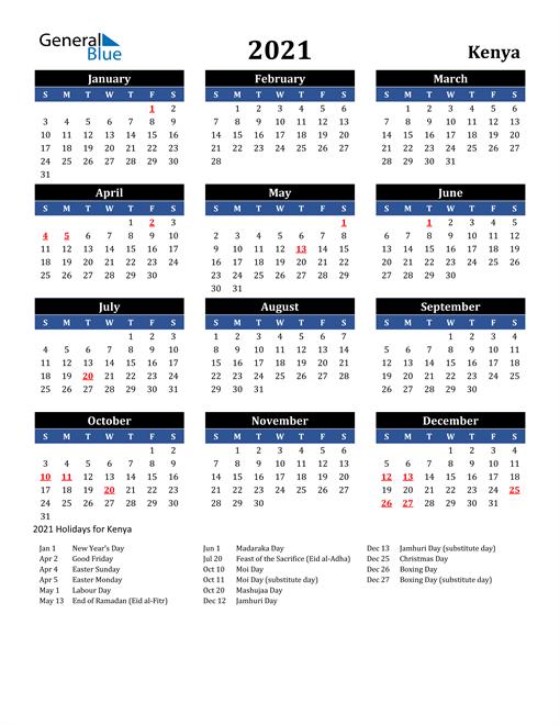 2021 Kenya Free Calendar