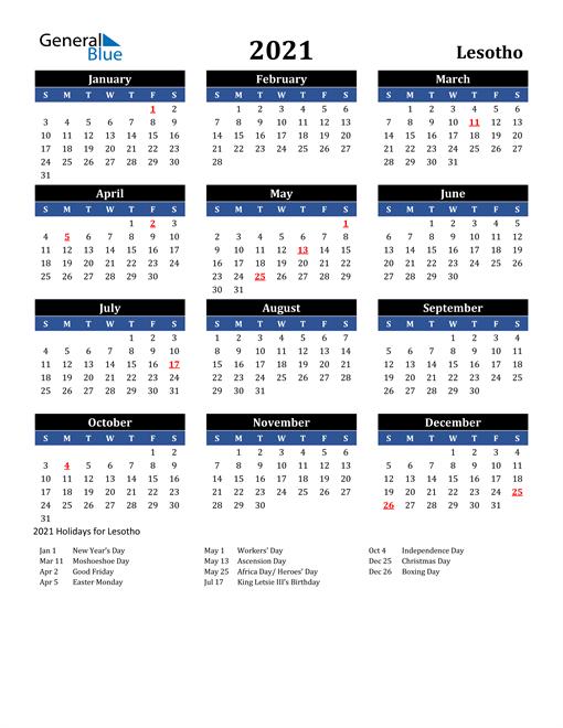 2021 Lesotho Free Calendar