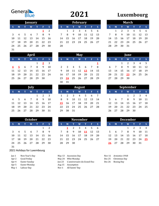Image of Luxembourg 2021 Calendar in Blue and Black with Holidays