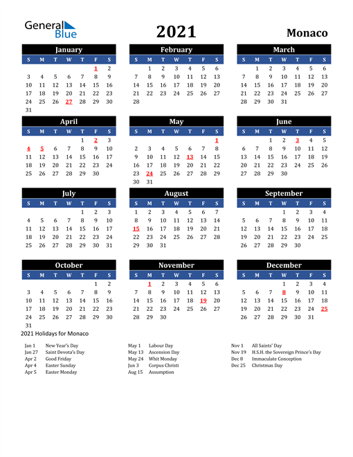 Image of Monaco 2021 Calendar in Blue and Black with Holidays