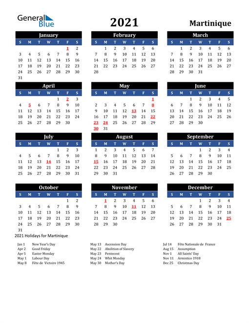 2021 Martinique Free Calendar