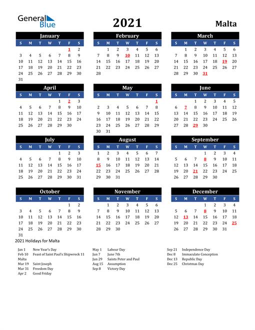 2021 Calendar - Malta with Holidays