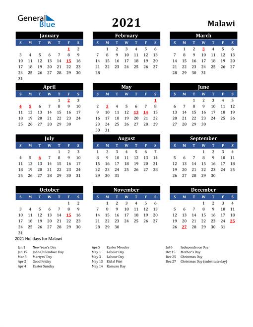 2021 Malawi Free Calendar