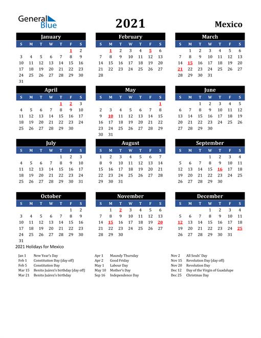 2021 Mexico Free Calendar