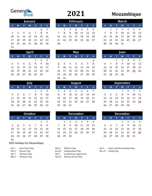 2021 Mozambique Free Calendar