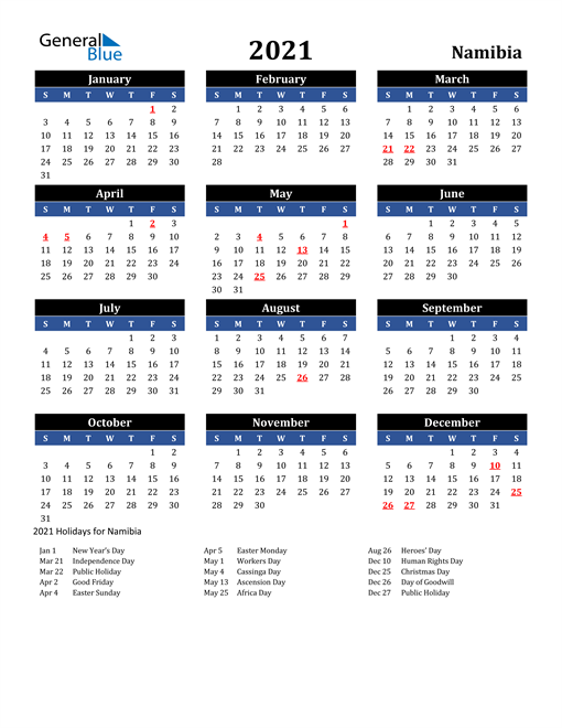 2021 Namibia Free Calendar