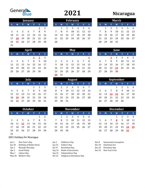 2021 Nicaragua Free Calendar