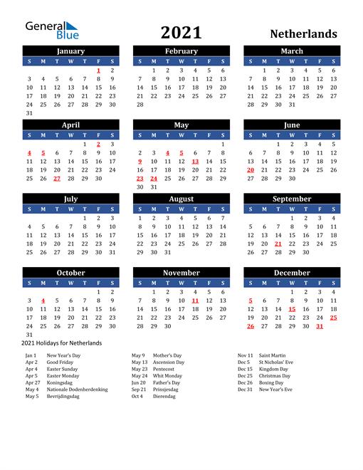2021 Netherlands Free Calendar