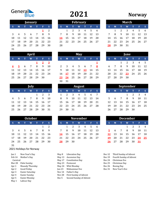 Image of Norway 2021 Calendar in Blue and Black with Holidays