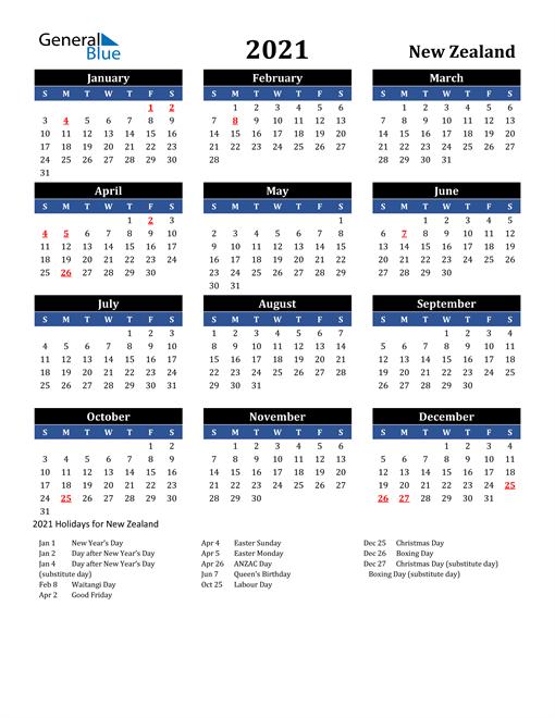 2021 New Zealand Free Calendar