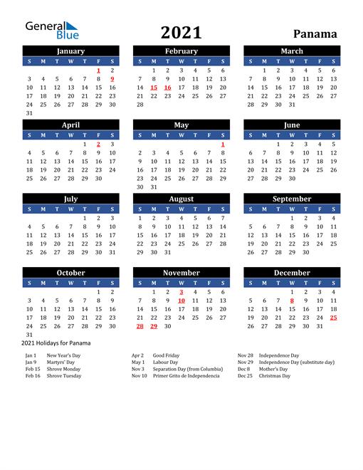 2021 Panama Free Calendar