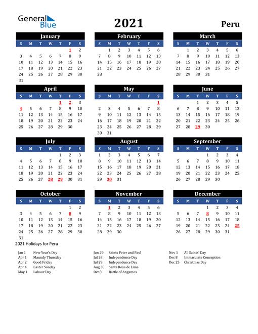 2021 Peru Free Calendar