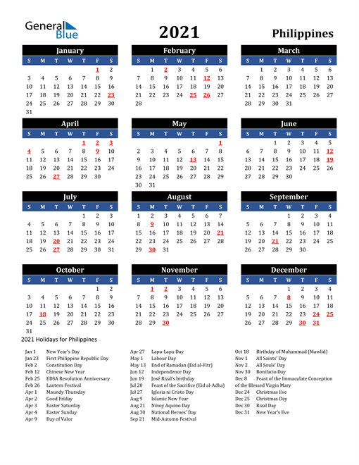 2021 Calendar - Philippines with Holidays