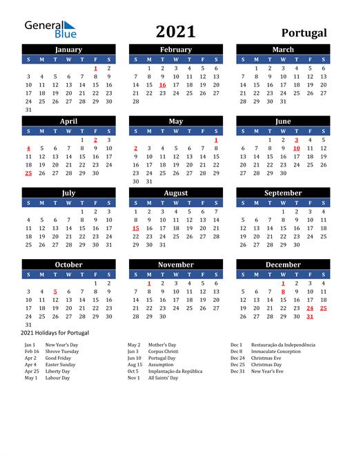 2021 Portugal Free Calendar