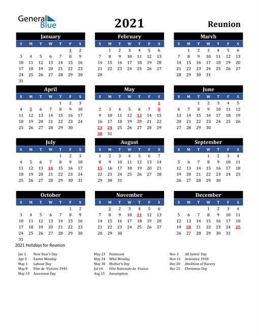 2021 Reunion Free Calendar