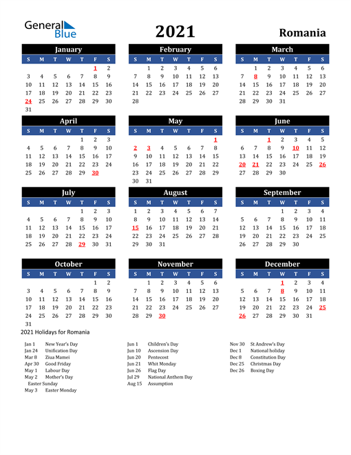 2021 Calendar Romania With Holidays